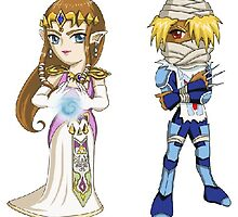 Legend of Zelda - Zelda and Sheik stickers by littlebearart