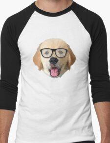 Golden Dog with Glasses Men's Baseball ¾ T-Shirt