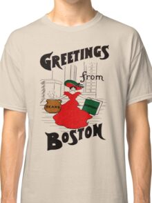 Red Dress Greetings From Boston  Classic T-Shirt