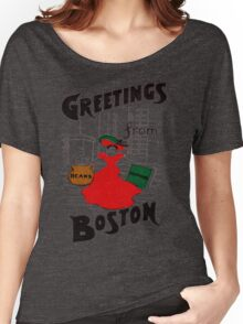 Red Dress Greetings From Boston  Women's Relaxed Fit T-Shirt