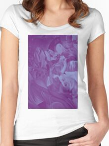 Within my heart a flame of desires, colorful abstract painting with fantasy girls. Women's Fitted Scoop T-Shirt