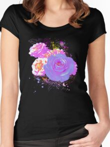 Wild Colorful Roses Women's Fitted Scoop T-Shirt