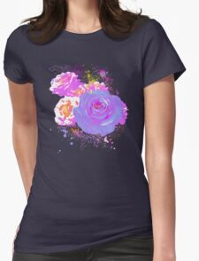 Wild Colorful Roses Womens Fitted T-Shirt