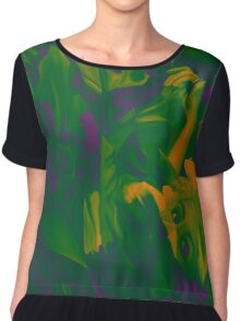 Within my heart a flame of desires, colorful abstract painting with fantasy girls. Chiffon Top