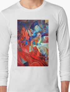 Within my heart a flame of desires, colorful abstract painting with fantasy girls. Long Sleeve T-Shirt