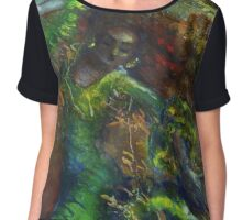 Green flamenca with leaves Chiffon Top
