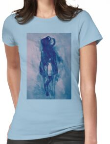 Watercolor sketch of girl in summer dress and hat Womens Fitted T-Shirt