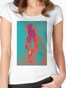 Watercolor sketch of girl in summer dress and hat Women's Fitted Scoop T-Shirt