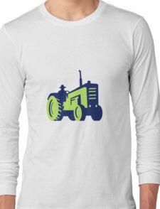 Organic Farmer Driving Vintage Farm Tractor Long Sleeve T-Shirt