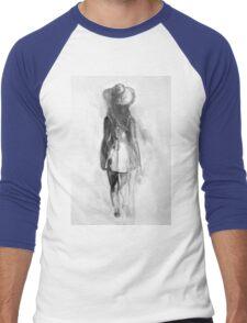 Watercolor sketch of girl in summer dress and hat Men's Baseball ¾ T-Shirt
