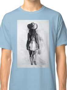 Watercolor sketch of girl in summer dress and hat Classic T-Shirt