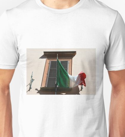 Italy flag in front of a window Unisex T-Shirt
