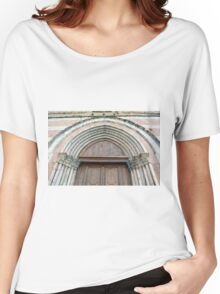 Medieval church entrance with arches in Foligno Women's Relaxed Fit T-Shirt