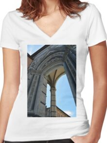 Gothic column and arch in Siena Women's Fitted V-Neck T-Shirt