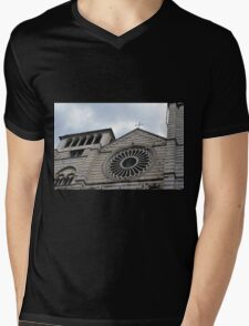 Cathedral in Genova with white and black marble stripes Mens V-Neck T-Shirt