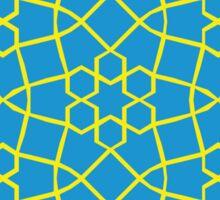 Geometric yellow and blue snowflake tile pattern Sticker