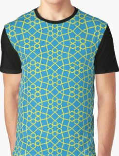 Geometric yellow and blue snowflake tile pattern Graphic T-Shirt