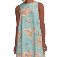 World Map illustration A-Line Dress