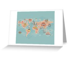 World Map illustration Greeting Card