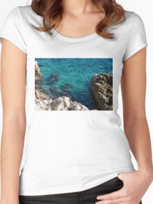 Cote D Azur - Stark White and Silky Azure Blue Women's Fitted Scoop T-Shirt