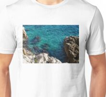 Cote D Azur - Stark White and Silky Azure Blue Unisex T-Shirt