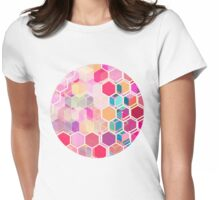 Rainbow Honeycomb - colorful hexagon pattern Womens Fitted T-Shirt