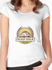 Vintage Pick Up Truck Circle Wreath Retro Women's Fitted Scoop T-Shirt