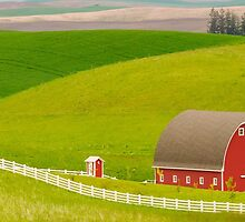 Red Barn and Rolling Hills by lkamansky
