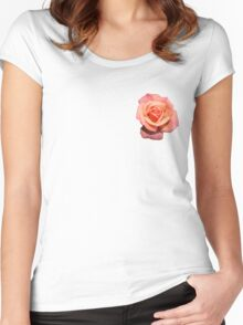 Pink Orange Floral Rose  Women's Fitted Scoop T-Shirt