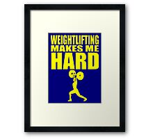 Funny Sport - Weight Lifting Makes Me Hard - yellow Framed Print