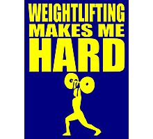 Funny Sport - Weight Lifting Makes Me Hard - yellow Photographic Print