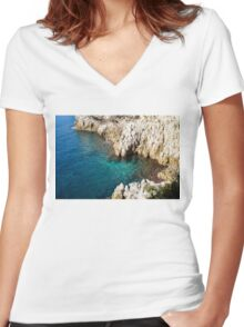 Cote D Azur - Silky Mediterranean Cove in the Sunshine Women's Fitted V-Neck T-Shirt