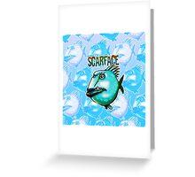 scarface fish cartoon style illustration  Greeting Card