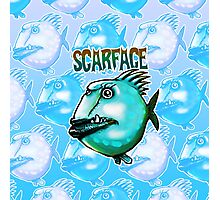 scarface fish cartoon style illustration  Photographic Print
