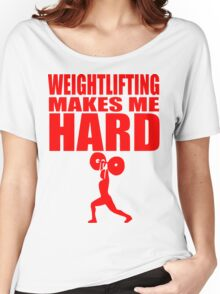 Funny Sport - Weight Lifting Makes Me Hard - red Women's Relaxed Fit T-Shirt