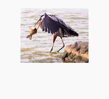 Heron with Big Fish Unisex T-Shirt