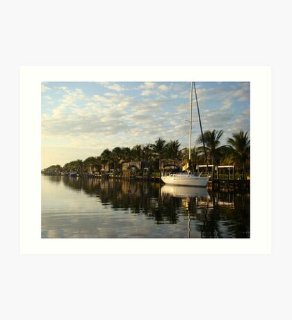 Sail boat in Cape Coral Canal Art Print