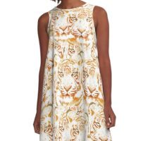 Tiger Watercolor Faces Pattern A-Line Dress
