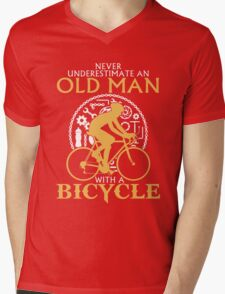 Never Underestimate an old man with a  Bicycle Mens V-Neck T-Shirt