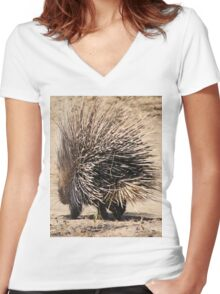Porcupine and its Quills - African Wildlife Women's Fitted V-Neck T-Shirt