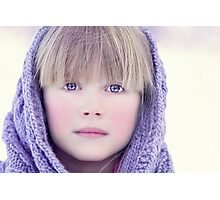 blonde girl in winter  Photographic Print