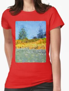 Majestic Trees next to the Beach 1 Womens Fitted T-Shirt