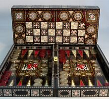 "14.5"" Backgammon Pearl Mosaic Decoupage with Chessboard by gamekeeper"