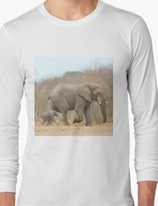 Elephant Love - Keeping up with Dad - African Wildlife Long Sleeve T-Shirt