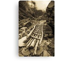 Rickety bridge - Annapurna Range - Nepal Canvas Print