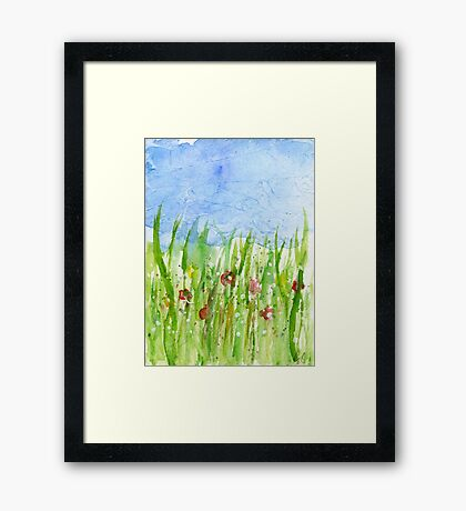 Watercolor abstract Wild flowers Framed Print