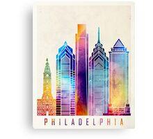 Philadelphia landmarks watercolor poster Canvas Print