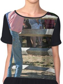 Jeans And suspenders Chiffon Top