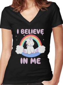 Cute Unicorn Women's Fitted V-Neck T-Shirt