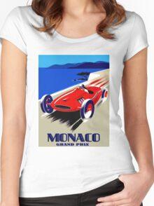 """MONACO GRAND PRIX"" Vintage Auto Racing Advertising Print Women's Fitted Scoop T-Shirt"